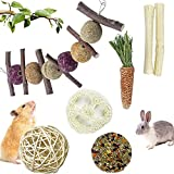 Bunny Chew Toy,Pet Bunny Tooth Chew Toys Organic Natural Apple Wood Grass Cake Ideal for Bunny, Chinchilla, Guinea Pigs, Hamsters Teeth Grinding