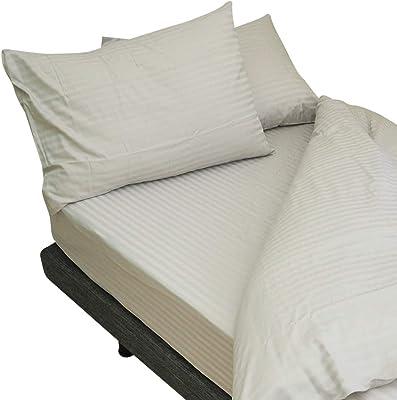 プレミアムコレクション ボックスシーツ インド綿100% ホテル仕様 サテンストライプ (シエルグレー, 幅195×長さ195×マチ40cm)
