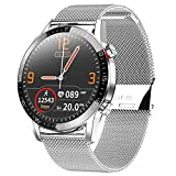 Smartwatch, Reloj Inteligente Impermeable IP68 Pulsera Actividad Hombre Mujer, Inteligente Reloj Deportivo Reloj Fitness con Pantalla Táctil Completa Pulsómetro Cronómetros per iOS Android (Plata)