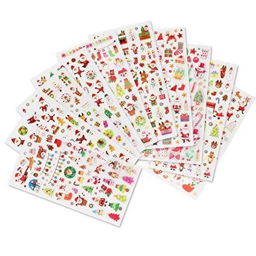 Naler 10 Hojas Pegatinas de Navidad Pegatinas Adhesivas para Decoración Scrapbooking Envoltura