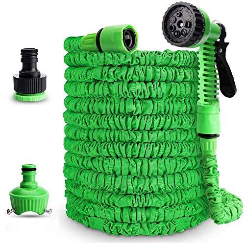 AVIS Flexibler Gartenschlauch,15m Ausziehbarer Schlauch mit 8-Phasen-Düse Adapter 1/2 Zoll & 3/4 Zoll | grün |Wasserschlauch Flexibel, Bewässerung Gartenarbeit für Gartenbewässerung und Reinigung