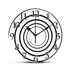 BCWAYGOD Spires Decor Silent Wall Clock Abstract Monochrome Spiral Whorl Element Dimensional Aesthetic Curve Concept Desk Clock Round Unique Decorative for Home Bedroom Office 10in