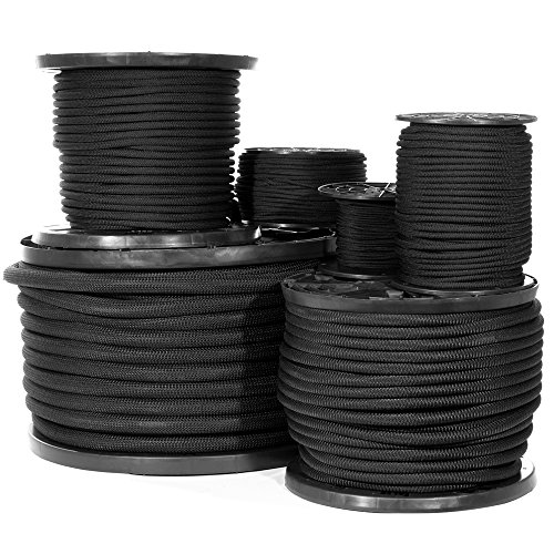 Shock Cord - Black Diamond Weave Elastic Bungee Cord - Features 100% Stretch, Shock Absorbent, & Strong Hold - Camping, Kayak Decks, Crafting, Gravity Chairs, & Tie-Downs - (1/4 Inch X 50 Feet)