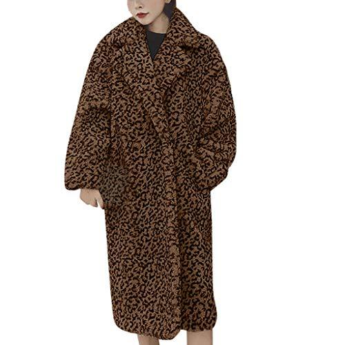 Snakell Femmes Manteau Hiver Fourrure Chaud Long Manches Longues Épais Blousons Casual Veste Léopard à la Mode Féminine Cardigan Long Chaud Hiver Léopard Ouvert Veste Manteau