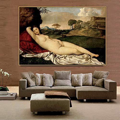 WIOIW Giorgione Artista Maestro Italiano The Sleeping Venus Body Art Mujer Desnuda Lienzo Pintura Póster de Pared Impresiones en HD Dormitorio Sala de Estar Oficina Estudio Decoración del hogar