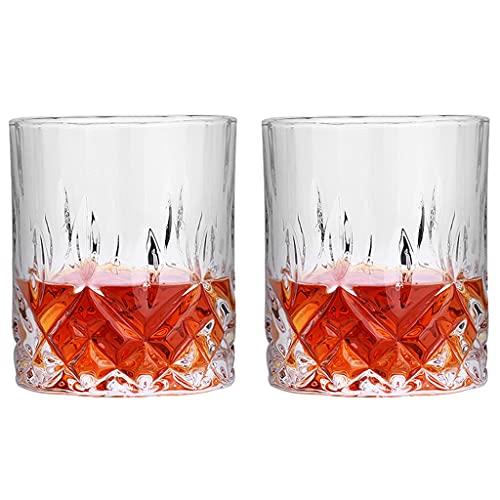 Vasos De Whisky 11 Oz (Juego De 2) Vasos De Whisky Sin Plomo Crys Tal Soplado A Mano Cócteles Escoceses Bourbon Y Antiguos (Color : Clear, Size : 8×9cm)