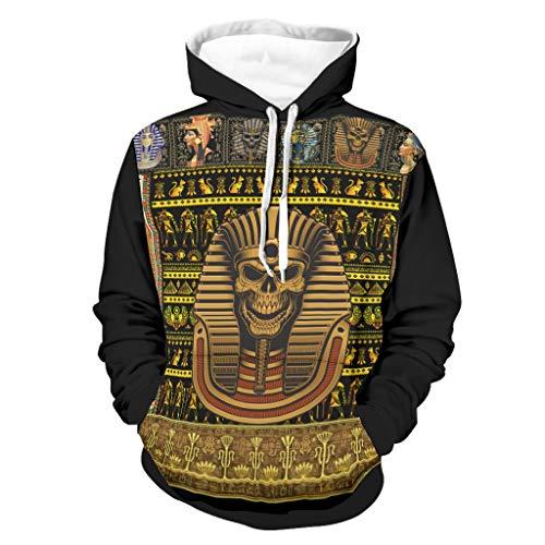 Felpa con cappuccio da uomo con cappuccio antico egiziano con teschio dorato e tasche con cappuccio e taglie forti con cappuccio regalo per uomini e donne bianco L