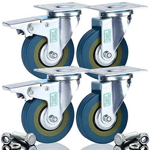 4x Schwerlast-Gummi-Räder, 75mm, Lenkrollen, Transportwagen, Möbelrollen, 360kg, inklusive Schrauben, von DSL