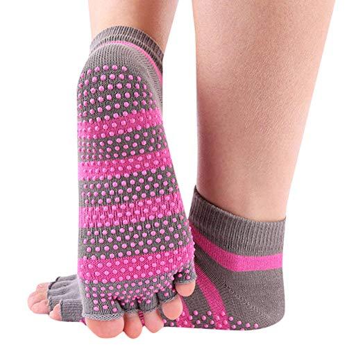 Tube Sock Vrouwen Gestreepte Beweging Niet Slip Sokken Mode Massage Anti Slip Teen Sokken Siliconen Ballet Dans Volledige Grip Katoenen Sokken Hakken Rose Rood