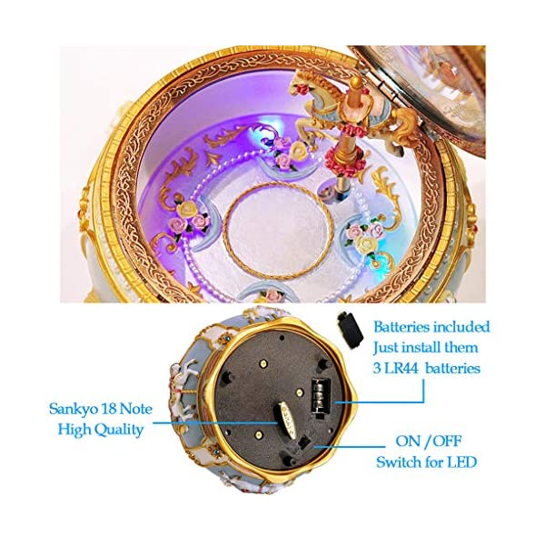 Amperer Classical Carousel Horse Music Box LED Lights Twinkling Resin Carved Collectible Mechanical Musical Box with… 6