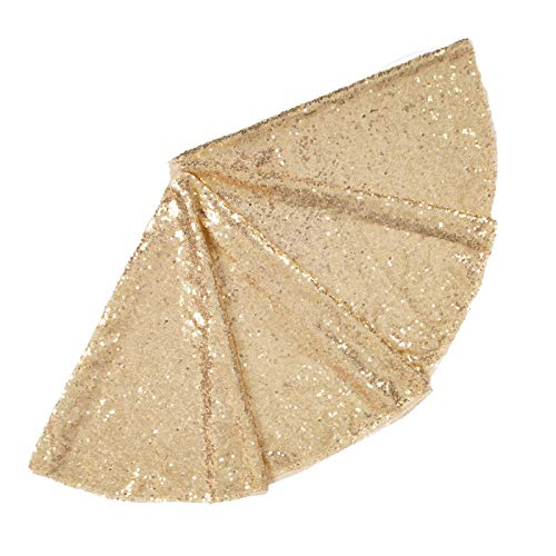 ShinyBeauty Tree Skirt Xmas Tree Skirt 60 inch Tree Skirt Light Gold Sequin Christmas Decoration Tree Skirt for Thanksgiving Gift for family-191118E