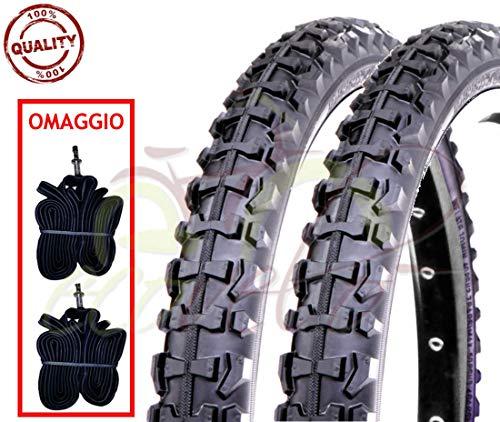 Ecovelò 2 COPERTONI E + 2 CAMERE d'Aria per MTB Bici Bicicletta Nero 26 X 1.90 (50-559)