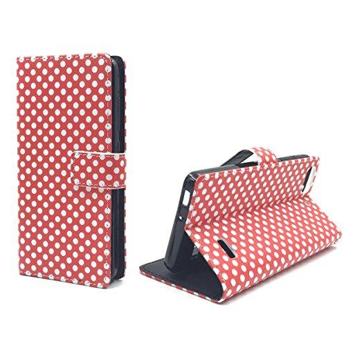 König Design Handyhülle Kompatibel mit Huawei G Play Mini/Honor 4C Handytasche Schutzhülle Tasche Flip Hülle mit Kreditkartenfächern - Polka Dot Weiße Punkte Rot