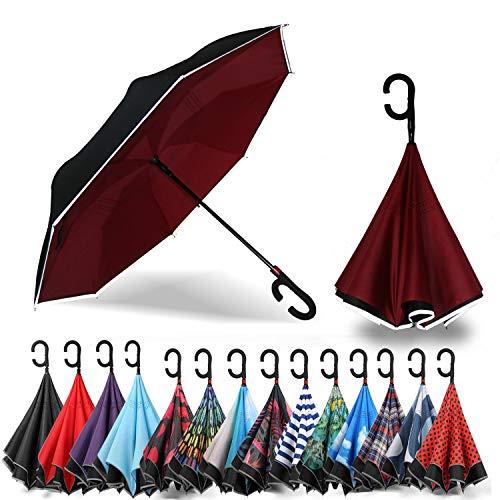 Siepasa Auto Open Reverse Umbrella, Umbrella Windproof, Inverted Umbrella, Umbrellas for Women with UV Protection, Upside Down Umbrella with Safe Reflective Stripe