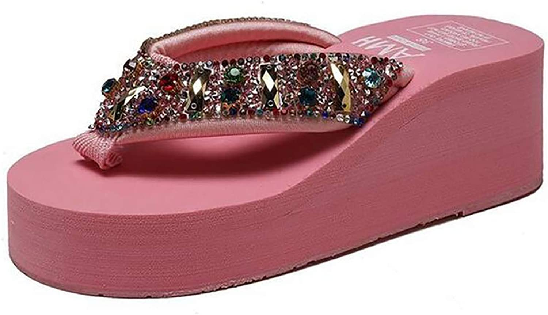 Woman's Wedge Flip Flops Sandals,Rhinestone Glitter Yoga Mat Summer shoes 36-40