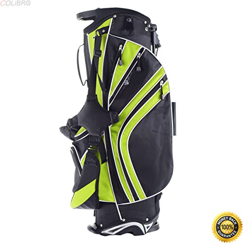 COLIBROX--Golf Stand Cart Bag Club w/6 Way Divider Carry Organizer Pockets Storage4 Green,best junior golf clubs for sale amazon,golf clubs for sale,best green golf club,New Golf Stand Bag