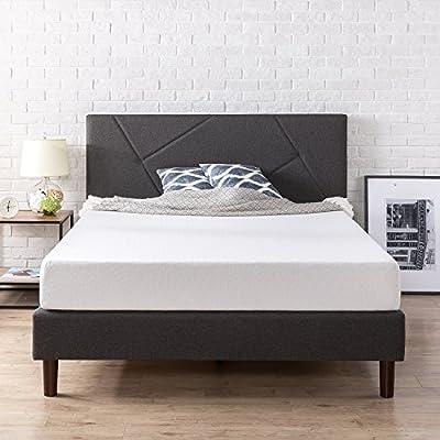 Zinus Upholstered Geometric Paneled Platform Bed/Mattress Foundation/Easy Assembly/Strong Wood Slat Support
