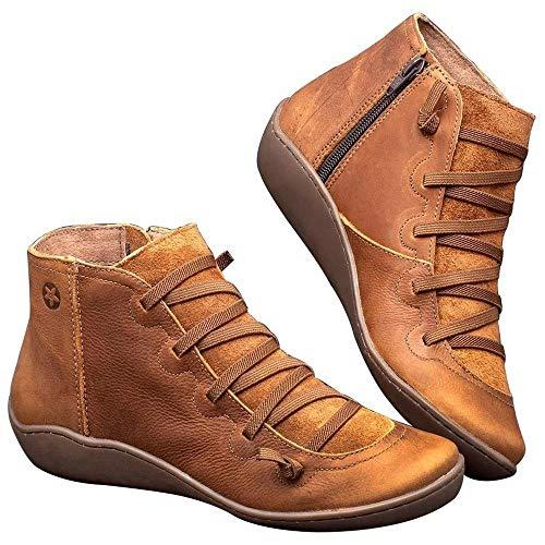 Volwco platte laarzen comfortabele ondersteuning laarzen van PU-leer bovenaan elastische rubberen zool Low Heels Plateau laarzen licht vintage herfst laarzen voor meisjes dames