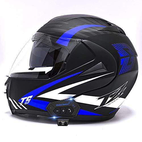 HYRGLIZI Casque de Moto Bluetooth Casque de Moto modulaire intégré à Rabat Casque de Moto Avec Double visière Casque intégral approuvé DOT/ECE Pour Hommes, Femmes, Quatre saisons D, S = 55~56cm