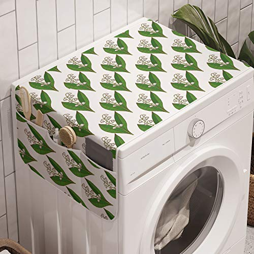 Lunarable Apothecary Washing Machine Organizer, Symmetric and Repetitive Pattern with Lily of the Valley Print, Anti-slip Fabric Cover for Washers and Dryers, 47' x 18.5', Fern Green and White