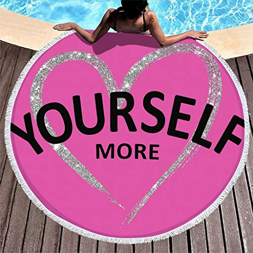 Gamoii Round Beach Towel Bath Towel Love You More Heart Pink Picnic Blankets Beach Mat Quick-Drying Sauna Towel with Tassel for Women Men Fitness & Sport White 150 cm