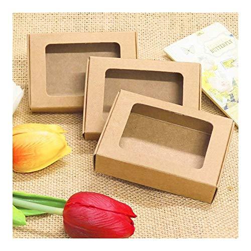 20pcs Caja de papel Kraft en blanco con la ventana hecha a mano de la decoración de la caja del jabón cookies de la boda de la caja de regalo del caramelo 85x60x22mm (Color : 1)