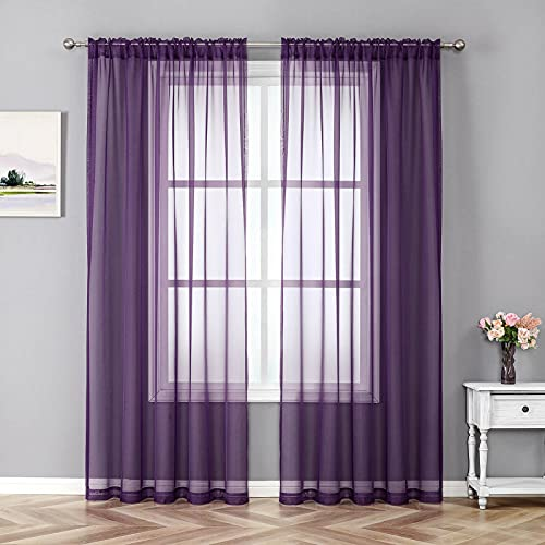 JUSPURBET 2 Pieces Window Sheer Curtains,Luxury Solid Semi Sheer Curtain Panel for Living Room Bedroom Outdoor,59x84 inch,Eggplant Purple