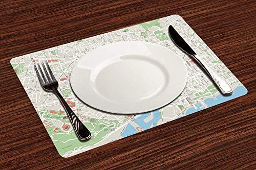 Manteles Individuales, Mapa, Mapa de las calles de la ciudad de Barcelona...