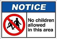 安全標識-このエリアへの子供は立ち入り禁止です。インチメタルブリキサイン注意警告サイン屋外