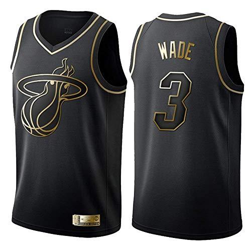 XSJY Pallacanestro Abbigliamento Uomo - NBA Miami Heat # 3 Dwyane Wade Bianco E Oro Jersey, Vintage Freddo Uniforme Tessuto Traspirante all-Star Fan Unisex,S:165~170cm/50~65kg