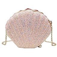 Van Caro Womens Glitter PU Leather Shell Pearl Cross-body Shoulder Bags Purse