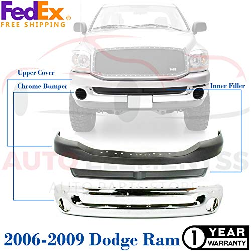New Front Bumper Face Bar Chrome For W/Round Fog light Holes 2006-2009 Dodge Ram 1500/3500 SLT Extended/Standard Crew Cab Pickup Direct Replacement Upper Cover Textured & Filler