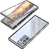 MIMGOAL Funda Cristal Templado para Samsung Galaxy Note 20 Ultra 5G [Adsorción magnética][Parte Trasera de Cristal][Marco de Metal][Resistente Arañazos] 360 Protección Case Transparente,Plata