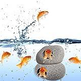 IYSHOUGONG 2 piezas decoración de acuario, cuevas de roca oculta caverna, betta escondite accesorios decoración de peces roca casa para camarones cíclidos Betta Fish