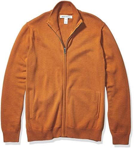 Amazon Essentials Cotton Full-Zip Sweater Sweaters, Herrumbre, US L (EU L)