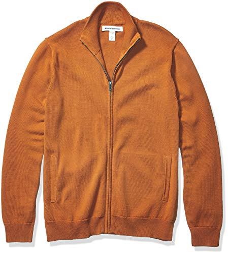 Amazon Essentials Men's Full-Zip Cotton Sweater, Rust, Medium