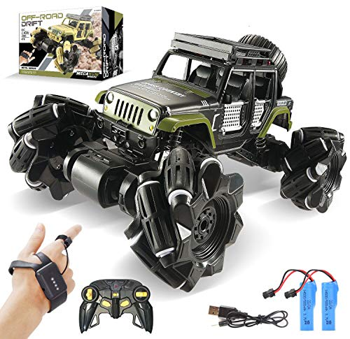 LOOZIX Remote Control Car, 1:16 Metal Drift RC Cars 360° Rotating 4WD 2.4Ghz Gesture Sensor Control Monster Truck for Kids All Terrains Crawler RC Vehicle Rechargeable Batteries for Boys Kids