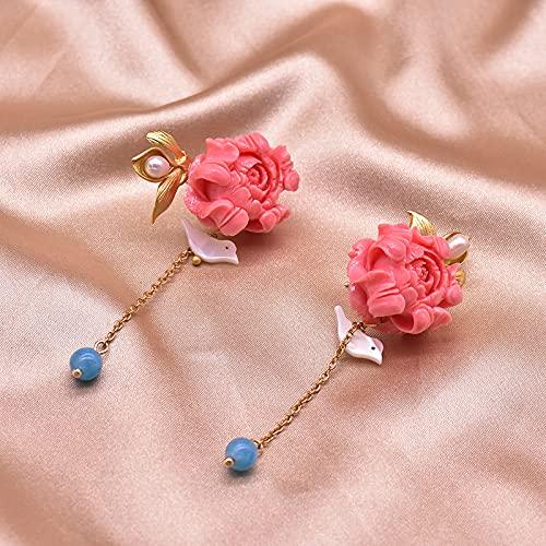 SALAN Pendientes Colgantes De Polvo De Coral De Plata De Ley 925 para Mujer, Pendiente Colgante De Flor De Pájaro De Cristal Azul Natural, Joyería