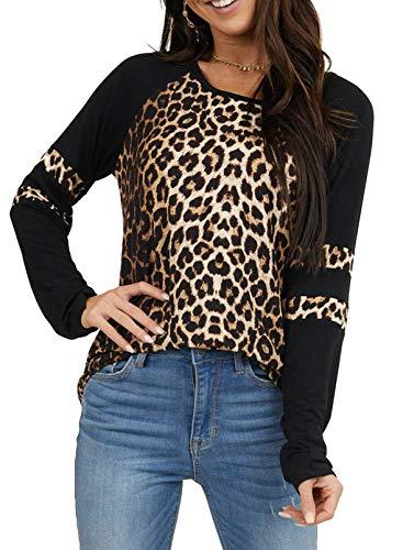 CORAFRITZ Damen-Winter-Tunika-Top mit Leopardenmuster, langärmelig, für Damen, lockeres Fitnessstudio Gr. 36-38, leopard