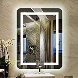 HZWLF Espejo de vanidad Led Espejo de baño montado en la Pared Horizontal Vertical Colgante Blanco Luz cálida Interruptor táctil Tiempo Desempañado Espejo Decorativo 60x80cm
