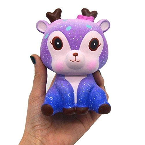 Nordvpn Kreative 11 cm Galaxie, süßes Hirsch, Creme, duftend, Squishy, langsam aufsteigendes Squeeze Strap Spielzeug Geschenk Purple Deer