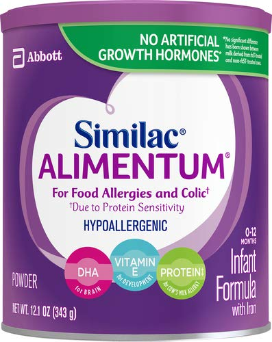 Similac Alimentum Hypoallergenic Infant Formula, for Food Allergies and Colic, Starts Reducing Excessive Crying Within 24 Hours, Easy to Digest, Lactose-Free Formula Powder, 12.1-oz Can