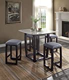 Acme Furniture Razo Counter Height Table, Marble & Weathered Espresso