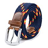 Stretch Belt, Vonsely Elastic Belts Braided Fabric Belt Colorful Woven Belts for Men and Women, Blue-Yellow-Red Strap