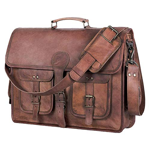 KPL 18 INCH Leather Briefcase Laptop Messenger bag best computer satchel Handmade Bags for men