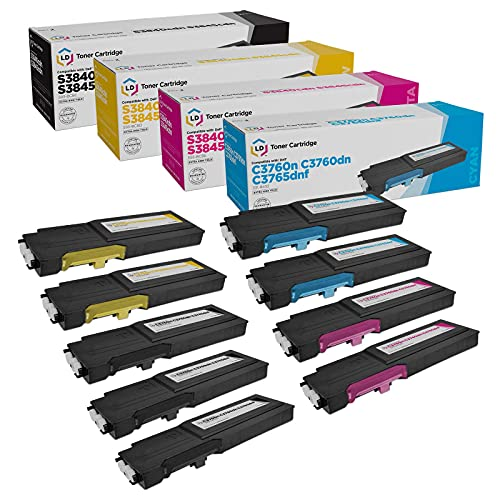 LD Compatible Toner Cartridge Replacement for Dell C3760 & C3765 Extra High Yield (3 Black, 2 Cyan, 2 Magenta, 2 Yellow, 9-Pack)