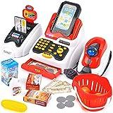 Buyger 26 Stück Elektronische Kasse Spielzeug Supermarkt Registrierkasse mit Scanner Spielkasse Rollenspiel für Kinder