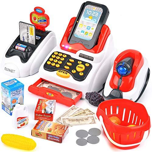 Buyger 26 Pezzi Registratore di Cassa Supermercato Giocattolo per Bambini 3 4 5 Anni con Scanner Luci e Suoni, Elettronico, Giochi d'imitazione, Rosso