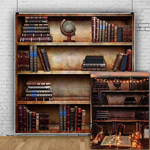 AOFOTO 6x6ft Retro Bookcase Backdrop Vintage Bookshelf Photography Background Magic Books Kid Boy Adult Man Girl Artistic Portrait Nostalgia Photo Shoot Props Video Drop Vinyl Wallpaper