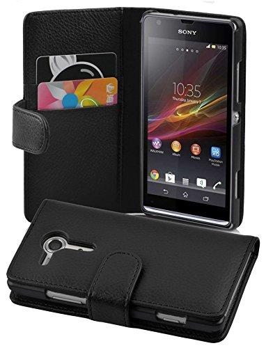 Cadorabo Custodia Libro per Sony Xperia SP in Nero Profondo - con Vani di Carte e Funzione Stand di Similpelle Strutturata - Portafoglio Cover Case Wallet Book Etui Protezione